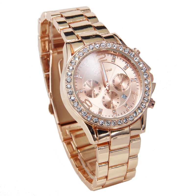 2016 Super Deal, High Quality Watches Luxury Brand Geneva Watch Women Quartz Wrist Watch Female Crystal Lady Dress Relogio GOLD(China (Mainland))