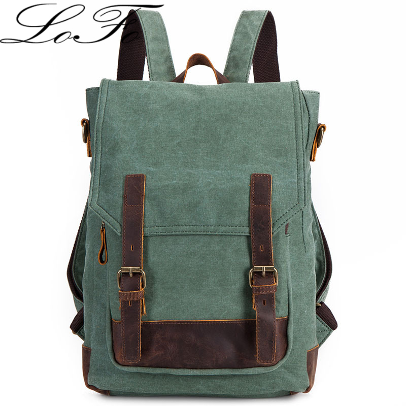 Canvas Splice Genuine Leather laptop casual school bag fashion mochila backpacks teenage girls women's daypacks - LOFO jewelry store