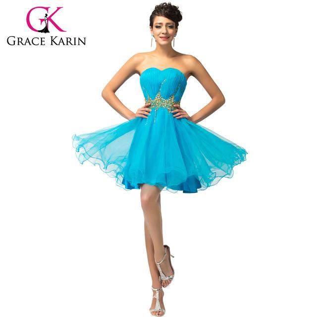 Популярные грейс карин элегантный синий розовый короткие коктейльные платья на день ...