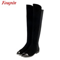 Black Matte Leather 2015 Hot Sale Suede Flat Over The Knee Boots Stretch Thigh High Boots