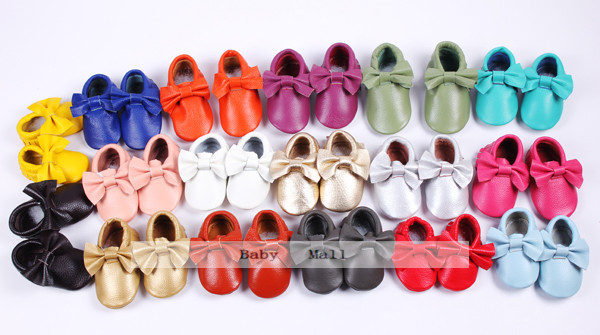 New 19 colors fringe bow Genuine Leather Baby Moccasins soft Baby Shoes First Walker Chaussure Bebe newborn shoes free shipping(China (Mainland))