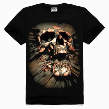 Rocksir 2015 Summer punisher Skull Head Grim Reaper 3D Printing heavy metal 100% Cotton tees for Men Casual Short Sleeves