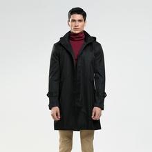 2016 последние однобортный настроить размер с капюшоном пальто для мужская осень пальто Англия черное пальто траншеи мужской верхней одежды(China (Mainland))