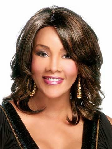 Cheap medium shoulder length wavy brown with side bangs for women Hot wig cap Classic african american Synthetic wigs(China (Mainland))