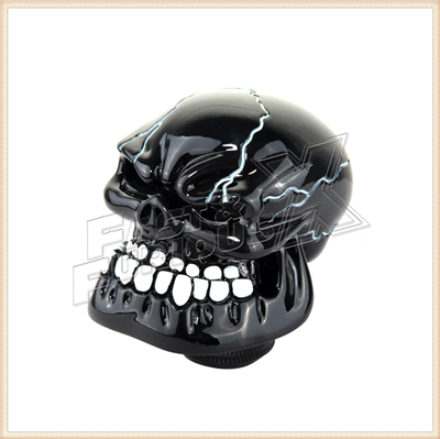 Good quality Aluminum Cool Black Manual Resin Skull Car Interior Universal Gear Stick Shift Knob Shifter Lever Cover(China (Mainland))