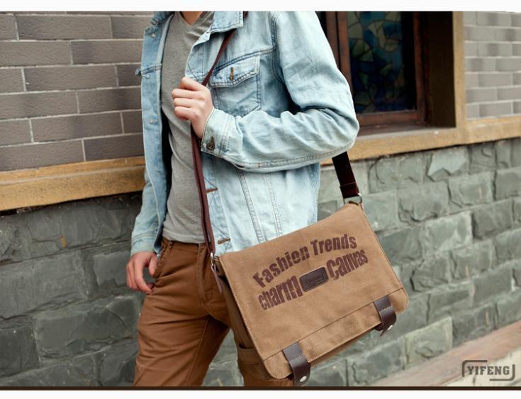 YIFENG Male men's shoulder bags school bags, Japan IPAD bag canvas Messenger men sport retro-trendy man leisure - best shop store