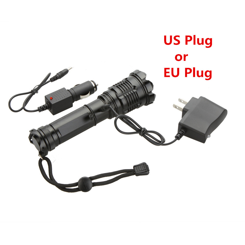 Rechargeable CREE XML T6 2000 Lumens LED Flashlight Torch Adjustable LED Flashlight Torch Light + Charger + Car Charger