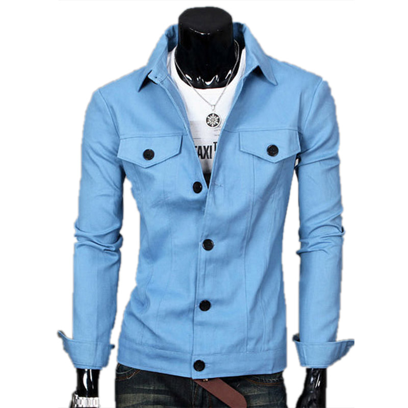 Hot Sell vetement homme New Fashion Men's Coat Pockets Decorative Jackets Solid Color Lapel Casual Jacket British Style(China (Mainland))