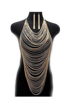 Free shipping for woman silver Multi Curb Chain Body Jewelry Gold Necklace Earrings wholesell body chain BY29(China (Mainland))