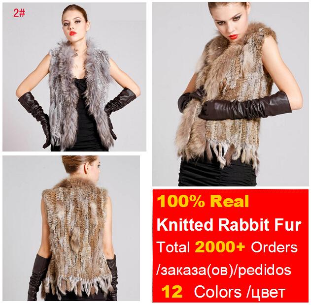 Ladies Genuine Knitted Rabbit Fur Vest Raccoon Fur Trimming Tassels Women Fur Natural Waistcoat Lady Gilet Fur Coat QDMJ001(China (Mainland))