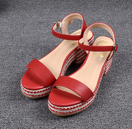 Black Wedges Sandals Women Shoes Genuine Leather Platform Sandals Shoes For Women 7CM High Heels Peep Toe Wedge Sandales FS-0069(China (Mainland))