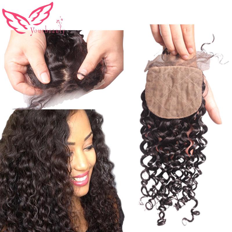6A Brazilian Deep Curly Silk Base Closure 100% Virgin Human Hair Free Middle 3 Part Deep Curly Silk Top Closure Free Shipping<br><br>Aliexpress