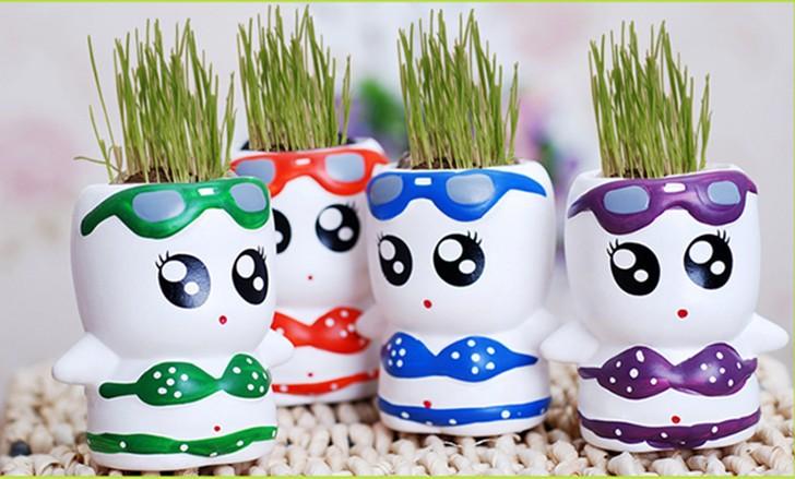 Ceramic hair grass plant doll,green desktop plants bonsai,mini grass head doll,free shipping(China (Mainland))