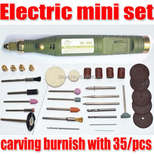 Free Shipping Electric Tools,Mini Drill, carving burnish with 35/pcs Multifunction Engraving machine Electric mini set