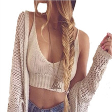 2016 Summer Sexy Fashion Brandy Melville Crop Top Bustier Tops Hand Crochet Bohu Cropped Tops Women Tanks &Camis Blusas Feminino