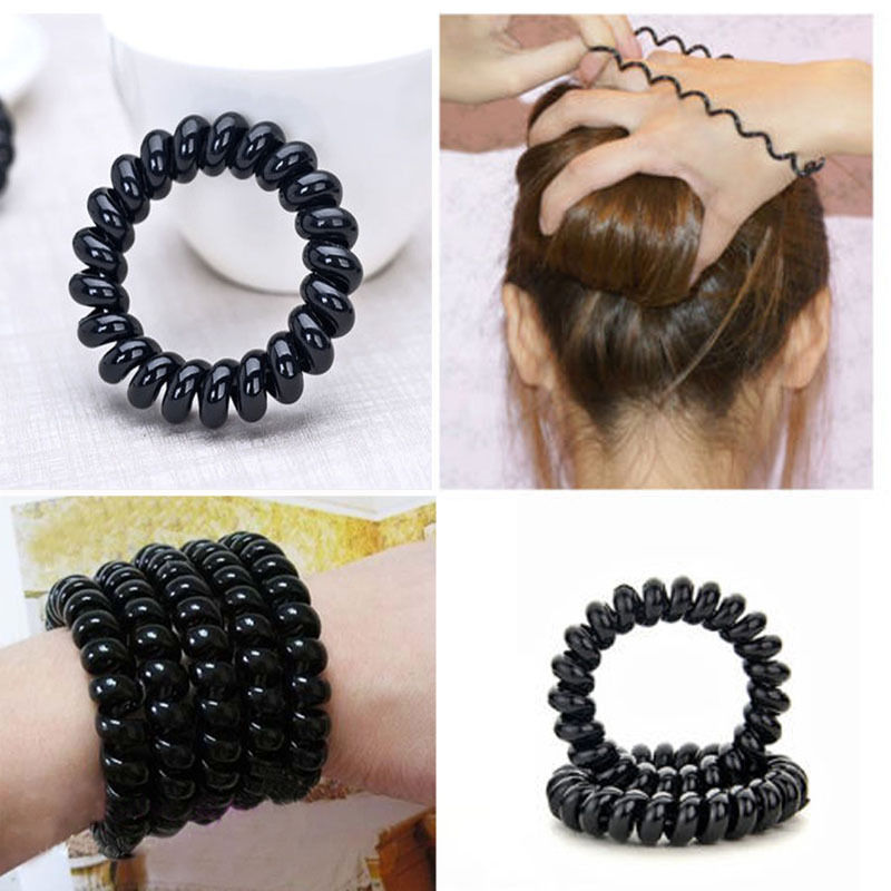 3 Pcs New Women Lady Girl Black Elastic Girl Rubber Telephone Wire Style Hairband Hair Ties & Plastic Rope Hair Band Accessories(China (Mainland))