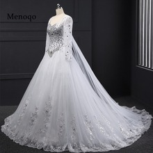 Buy Ball gown Long sleeve Beaded Crystal Applique Watteau Train 2017 Real Picture Luxury Lace Wedding Dresses Bridal gowns DB22702 for $133.90 in AliExpress store