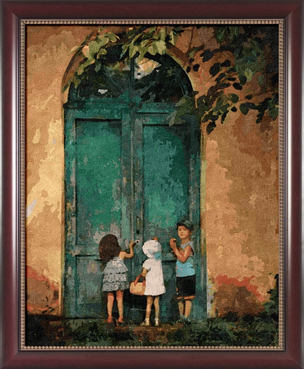 Framed painting by number paint by numbers for home decor frame picture oil painting canvas painting 4050 Knock on the door(China (Mainland))
