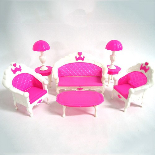 Free Delivery Lady Birthday Present Plastic Classic Couch Sofa Desk Lamp 6 Gadgets/Set Equipment For Barbie Doll For Monster Excessive