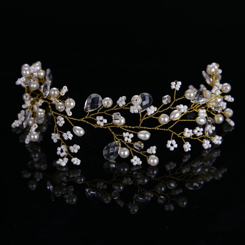 Golden Hairbands Wedding Tiara Pearl Wedding Crown Bridal Hair Accessories Head Jewelry Wedding Hair Accessories CY161117-103(China (Mainland))