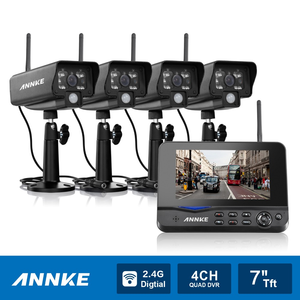 ANNKE 4CH Wireless WiFi 4 Digital Security Cameras 7-inch LCD Monitor DVR Video(China (Mainland))