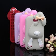 Brand Mos Bunny Case For Samsung Galaxy Note 2 II N7100 Rabbit 3D Soft Silicone Cover(China (Mainland))