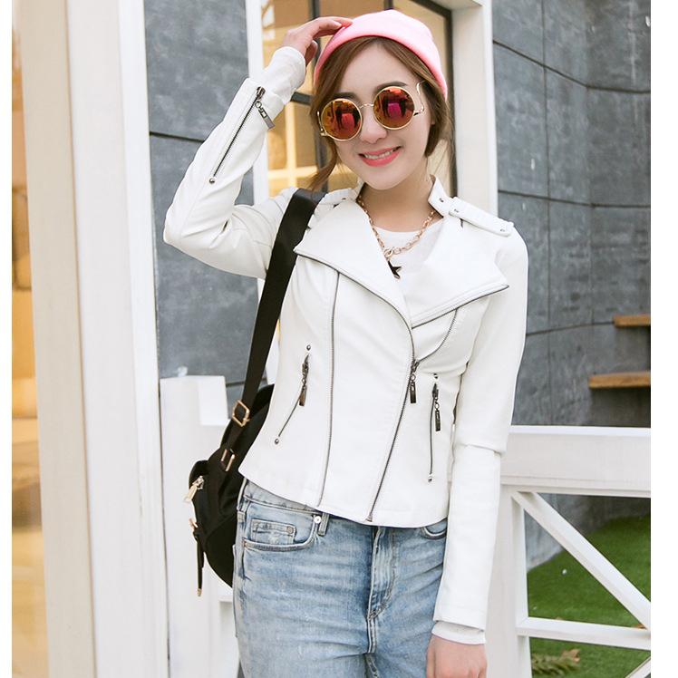 Wholesale 2015 New Autumn Winter Women Brand Faux Soft Leather Jackets Pu Black white blazer Zippers Coat Motorcycle Outerwear(China (Mainland))