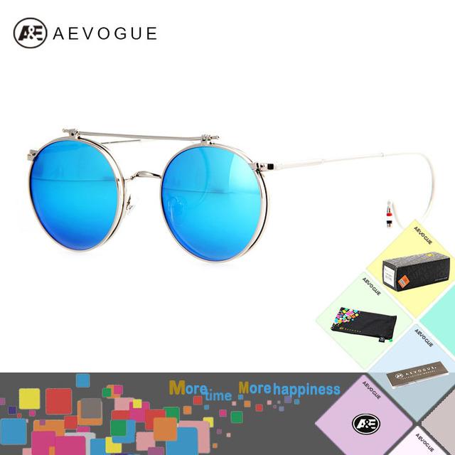Aevogue с оригинальный чехол новые круглый отразить вверх объектив металлический каркас солнцезащитные очки женщин многоцветный солнцезащитные очки óculos UV400 AE0233
