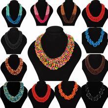 New Fashion Style Bohemian Necklace for Women Colorful Choker Wood Beads Multi-layers Statement Bib Necklace Fashion Jewelry