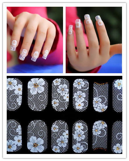 2015 New Nail Polish Stickers Wraps Art Decorations Cute White Lace Flowers Gold Rhinestones Adhesive Minx Beauty Manicure Tools(China (Mainland))
