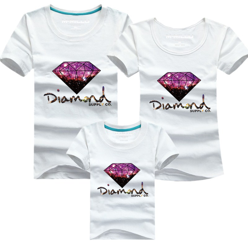 Sale family clothing outfits matching cotton kids suits new printed diamond supply co shirt summer Family look t-shirt tees(China (Mainland))