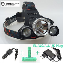 6000Lm 4-Modes Head Lamp bead T6+2R5 LED Headlamp Headlight Camping Fishing Light +2*18650 battery+Car EU/US/AU/UK charger(China (Mainland))