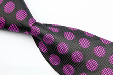 NT0164 Purple Black Dot Smooth Jacquard Woven Classic Elegant Silk Polyester Mans Business Wedding Luxury Tie