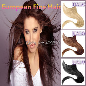 2015 New Hair Products A Straight High Quality Hair Flip in Halo Hair Extensions,Fish Line Hair weaving 613# light blonde