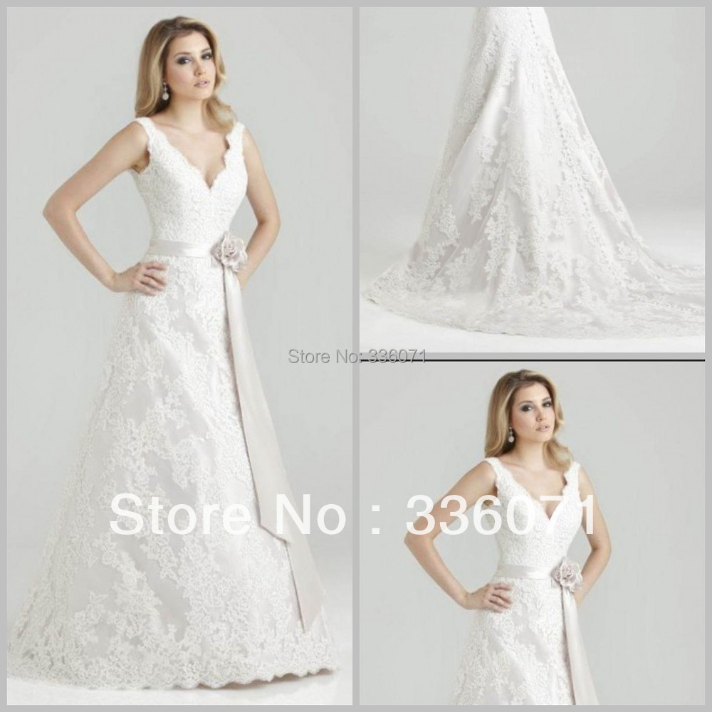 Brand designer 2013 ivory white lace v neck backless for Designer brand wedding dresses