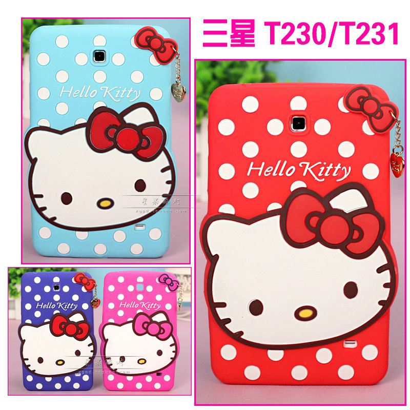 "Newest for Samsung Galaxy Tab 4 7"" Tablet T230 T231 T235 cartoon cute hello kitty case Silicone soft KT cover(China (Mainland))"