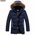 2016 Fall Winter Trendy Parkas with Big Faux Fur Hood for Men Middle Long Male s