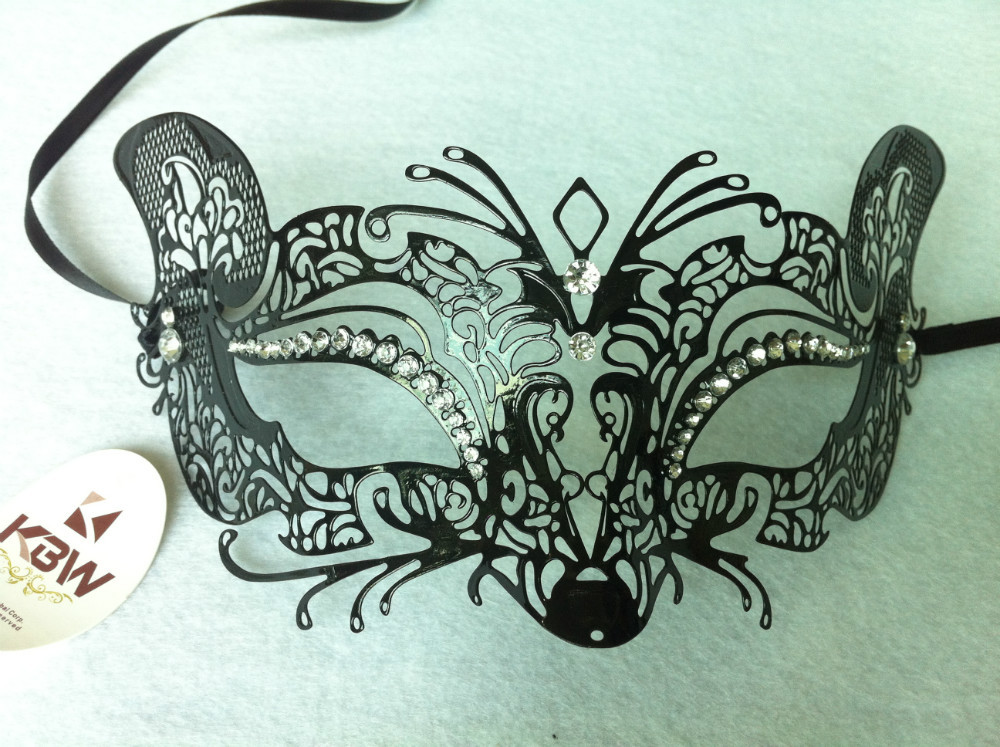 Laser Cut Metal venetian party masks Crystal masquerade Carnival M14501Black 4