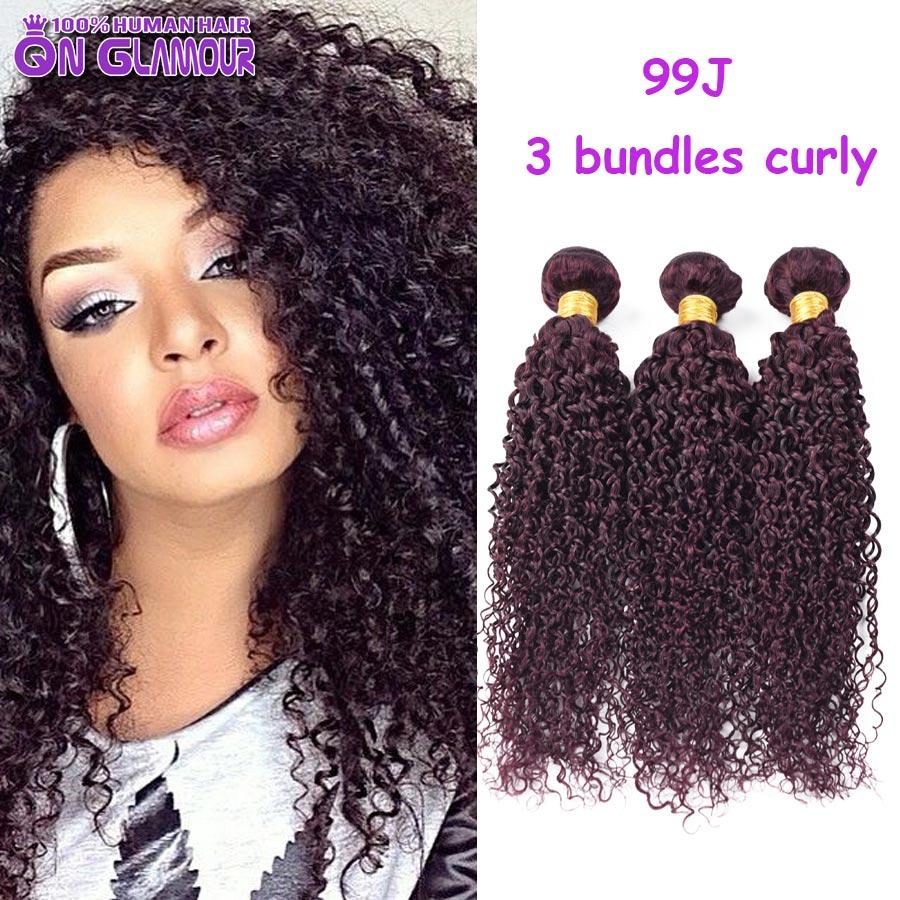 New Collection Cheap Wet And Wavy Human Hair Noble Sexy 99j Curling Hair Burgundy Malaysian Virgin Hair Kinky Curly 3 Bundles(China (Mainland))