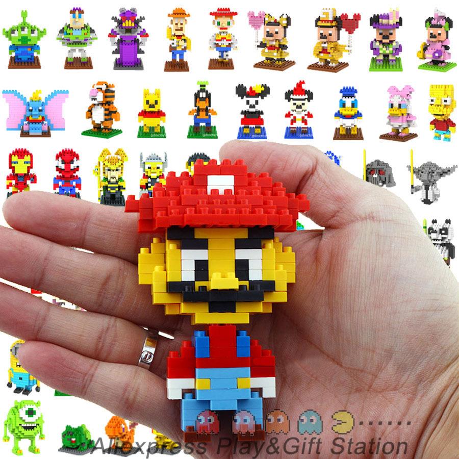 LOZ Blocks Diamond Building Blocks Action Figure The Avengers Minions Pokemon Mario Spongebob Mickey 3D Bricks Toy all 94 models(China (Mainland))