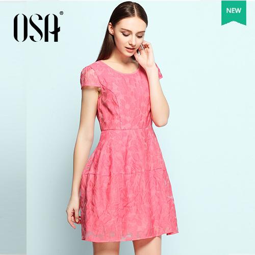 OSA 2015 Women Summer High Waist Red Color Flower Dress For Women Round Neck Dress SL549021(China (Mainland))