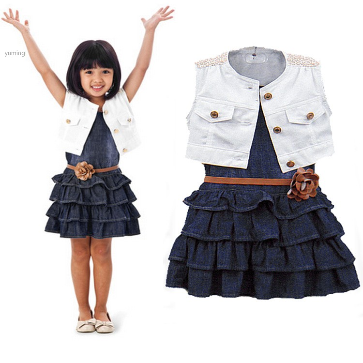 2014 Summer Baby Girl Kids Outfit Clothes Coat Jacket Denim Toddler Dress for girls child 2 Piece Set with Belt 36(China (Mainland))
