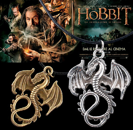 Free Shipping 20pcs/lot Fire Dragon Necklace Jewelry The Desolation of Smaug Pendant Chain Movie Black Dragon Pendant Necklace(China (Mainland))