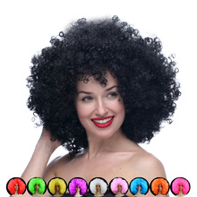Hot sale cosplay cheap Afro wig Harajuku Anime Party Wig Oversized Multicolour synthetic wigs For Ball Fans Halloween Pelucas(China (Mainland))