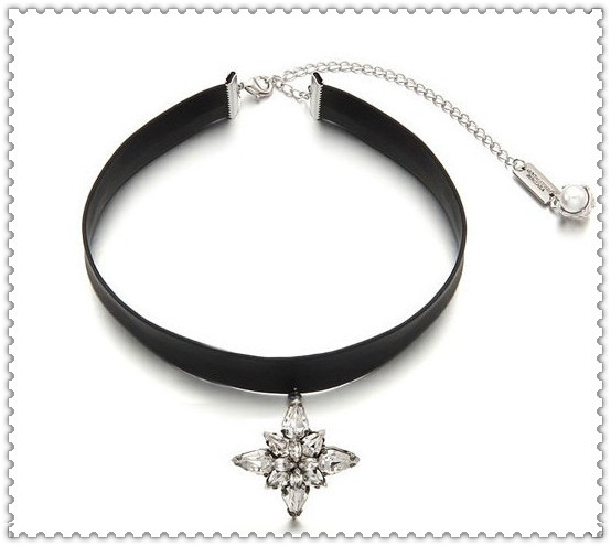 New fashion jewelry rhinestone pendant leather chain choker necklace gift for women girl cool design N1422