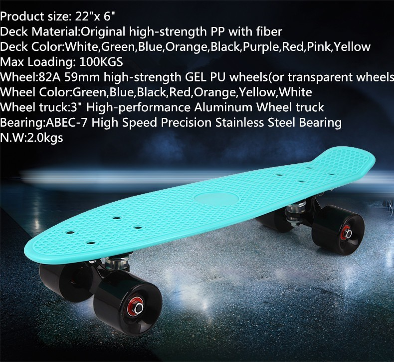 22 inch fish skate board pastel color banana board mini cruiser long skateboard four-wheel street longboard(China (Mainland))