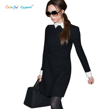 [C-377] 2013 Fashion Star Style Victoria Beckham Dress Slim Elegant Turn-down Collar Long Sleeve Black Dresses for Women(China (Mainland))
