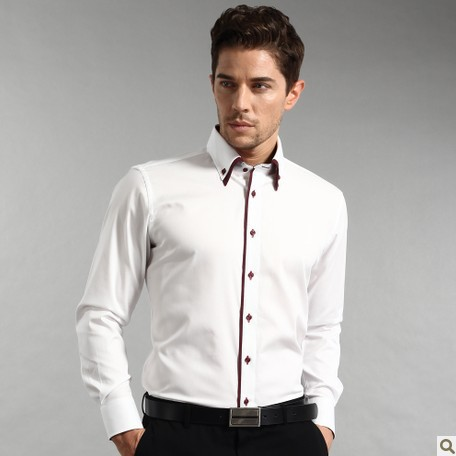 Smart five autumn 100 white long sleeve cotton shirt for Business casual white shirt