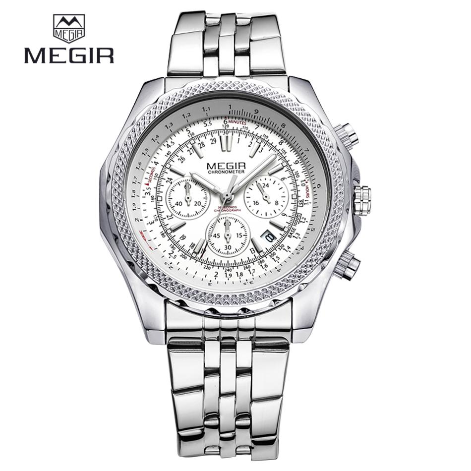 New MEGIR Full Steel Business Watches Men Wristwatch CHRONOGRAPH 24 Hours Function Top Brand Luxury Watches Relogio Masculino