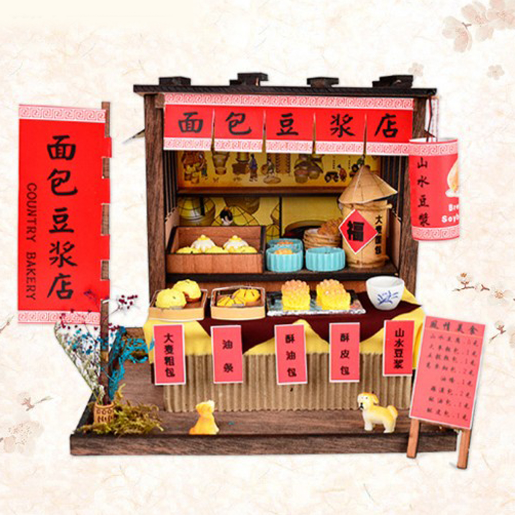 DIY Handcraft Miniature Project Wooden Dolls House Antique Bread Soybean Milk Shop with Furniture Foods Accessories Kit